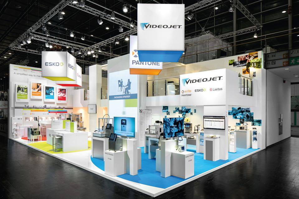 Simple Exhibition Stand Design : Joint exhibition stand with a harmonious design u videojet